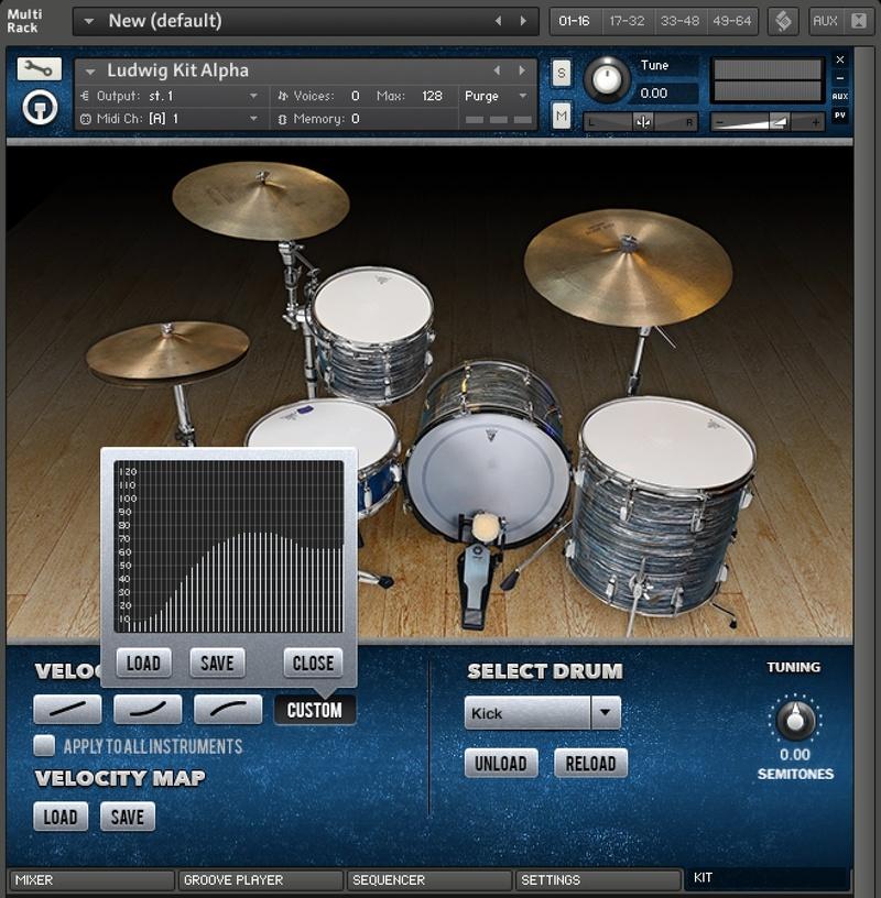 content custom velocity curves 8 - Ludwig Super Classic Kit - The Kontakt 5 Pack