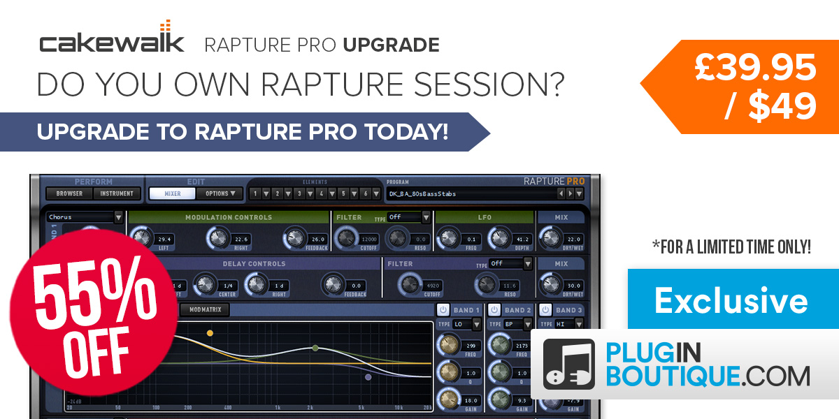 1200x600 cakewalk rapture pro upgrade  pluginboutique