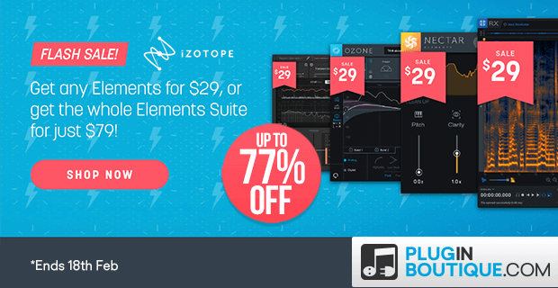 iZotope Elements Flash Sale, save at Plugin Boutique