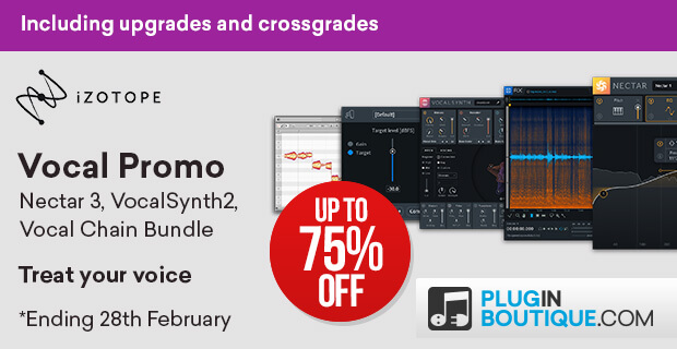 iZotope Vocal Sale, save up to 74% off at Plugin Boutique